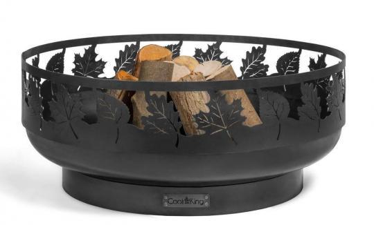 Feuerschale CookKing aus Stahl | rund | mit Laser Cut Motiv Toronto (Ahornblätter) | ohne Deckel