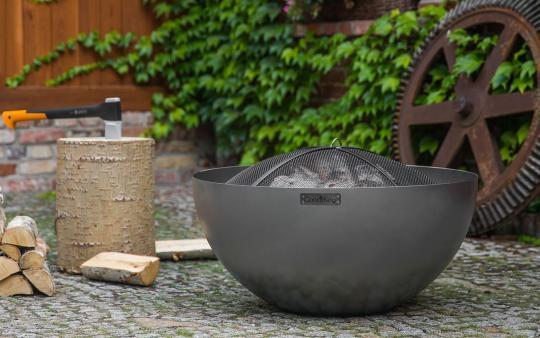 Feuerschale CookKing Dallas aus Stahl   rund   extra tief mit Funkenschutzdeckel