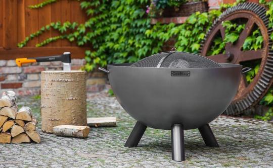 Feuerschale CookKing Kongo aus Stahl   rund   extra tief mit Funkenschutzdeckel