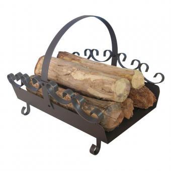 Holzkorb KAMINO-FLAM Holzlege aus Stahl | mit Henkel