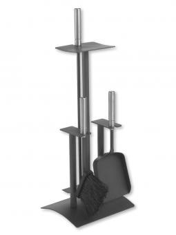 Kaminbesteck LIENBACHER Metall | anthrazit | 4-teilig