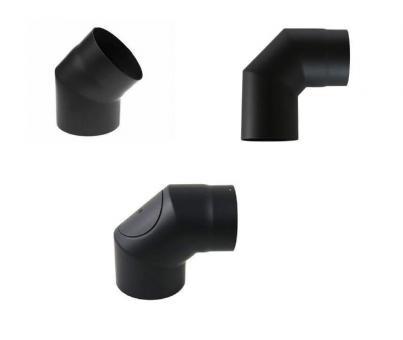 Ofenrohr Ø 130 mm   schwarz   Rohrwinkel