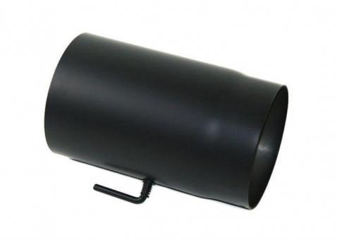 Ofenrohr Ø 130 mm | schwarz | gerade | mit Drosselklappe | Länge 250 mm