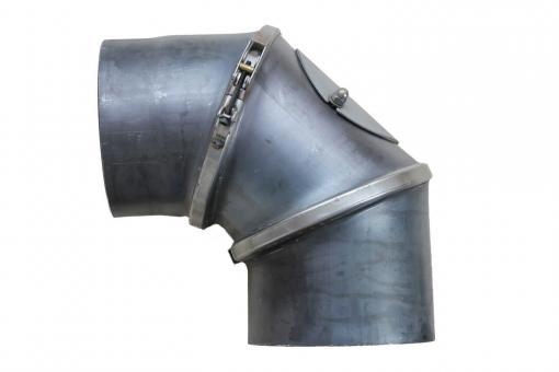 Ofenrohr Ø 160 mm | blank Bogen verstellbar 0-90° mit Tür